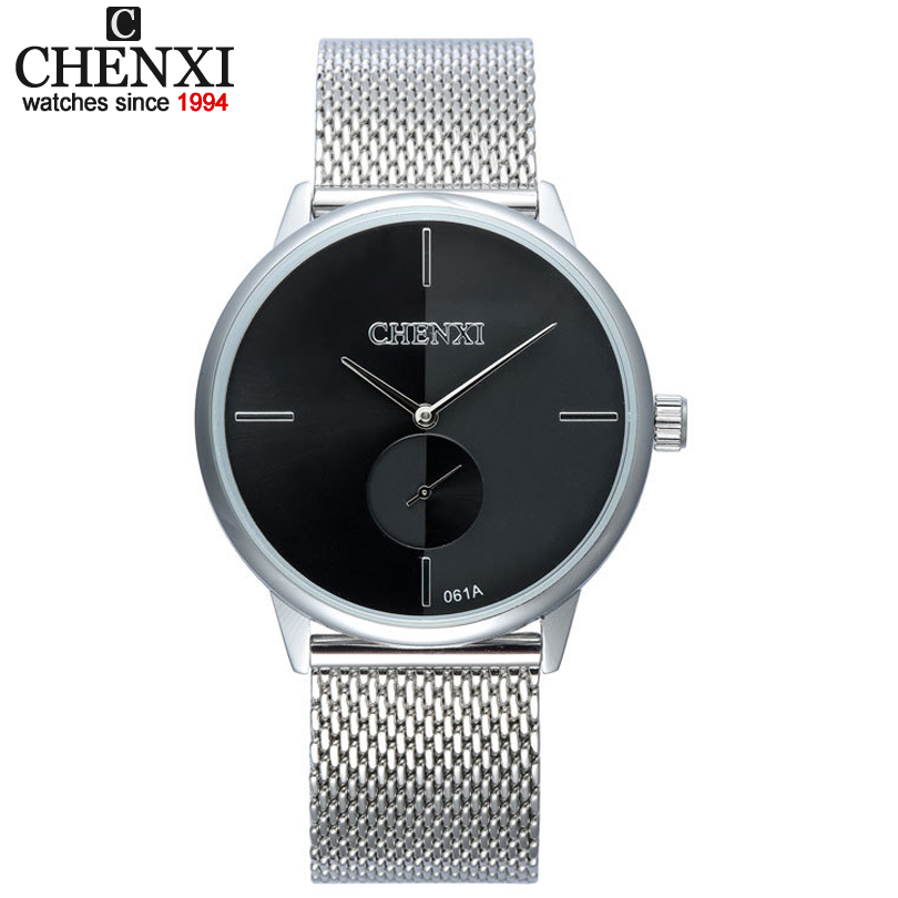 CHENXI Lovers Quartz Watches New Design Silver Stainless Steel Mesh Belt Men And Women Business Style Decorative Clock Watch