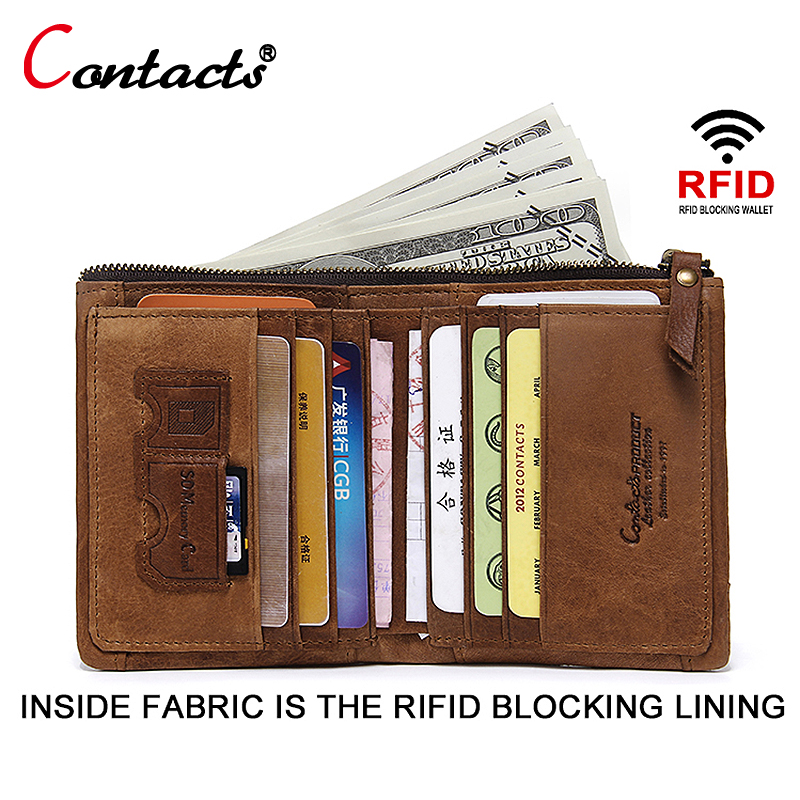 CONTACT'S Genuine Leather Men Wallet Men Wallet Male Clutch Credit Card Holder Rfid Coin Purse Slim Small Rfid Wallet Card Perse etya bank credit card holder card cover
