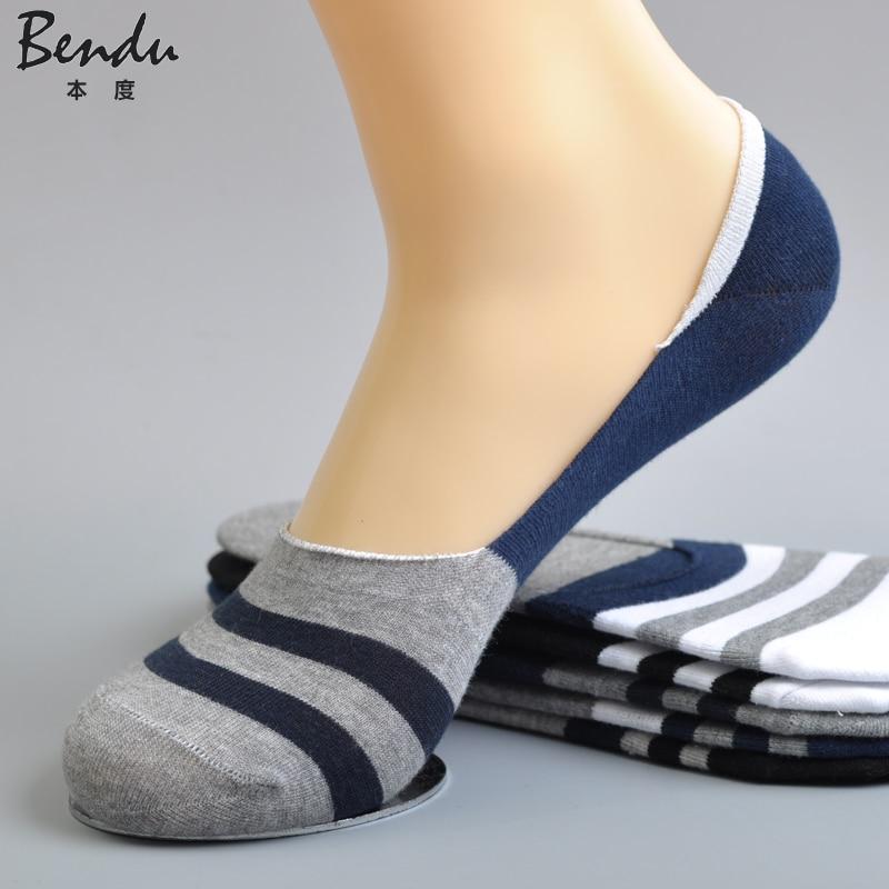 Men Cotton No Show Socks Stripe Anti-Slip Slippers Comfortable Deodorant Breathable Casual Colorful Man Sock(5 Pairs / Lot)