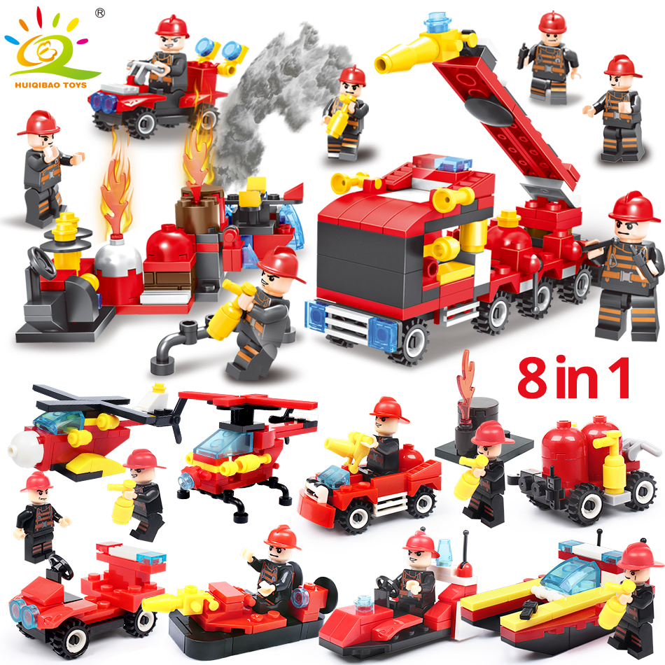 376pcs 8in1 Fire fighting Building Blocks Compatible Legoingly city truck Firefighter Helicopter Educational Bricks children Toy
