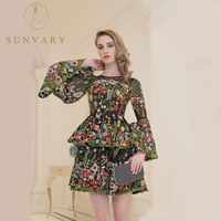 Sunvary Vintage Embroidery Celebrity Dresses High End Flare Sleeve Knee Length Tulle Gown Zipper Custom Made