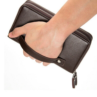 Double Zipper Wallet Men OL Long Style PU Leather Purse Large Capacity Card Holders Luxury Quality