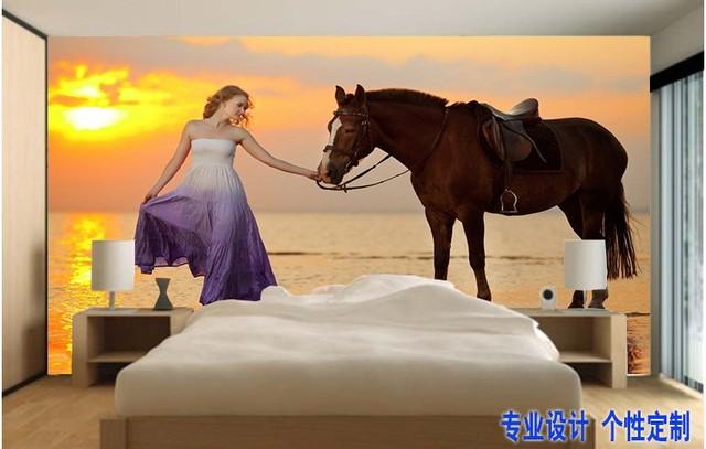 can customized Cartoon dream horse children large 3d mural wallpaper wall  stickers waterproof dinning bedroom restaurant. can customized Cartoon dream horse children large 3d mural