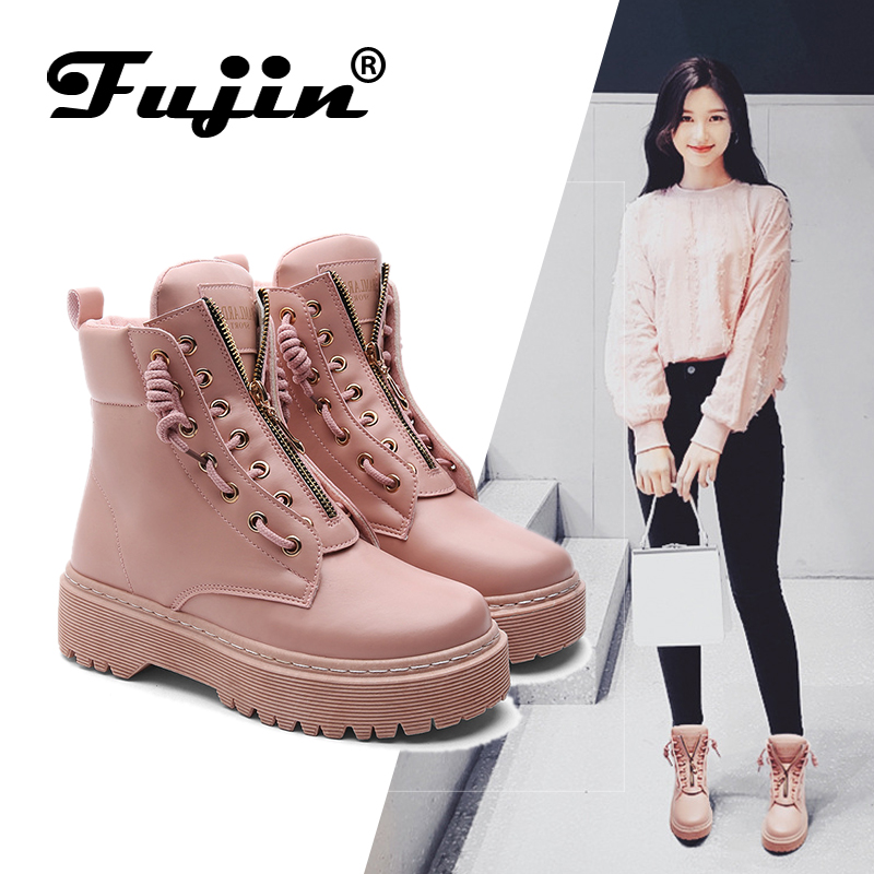 FUJIN Casual Sneakers Shoes Comfortable Spring Autumn Winter Women Lace-Up Pu