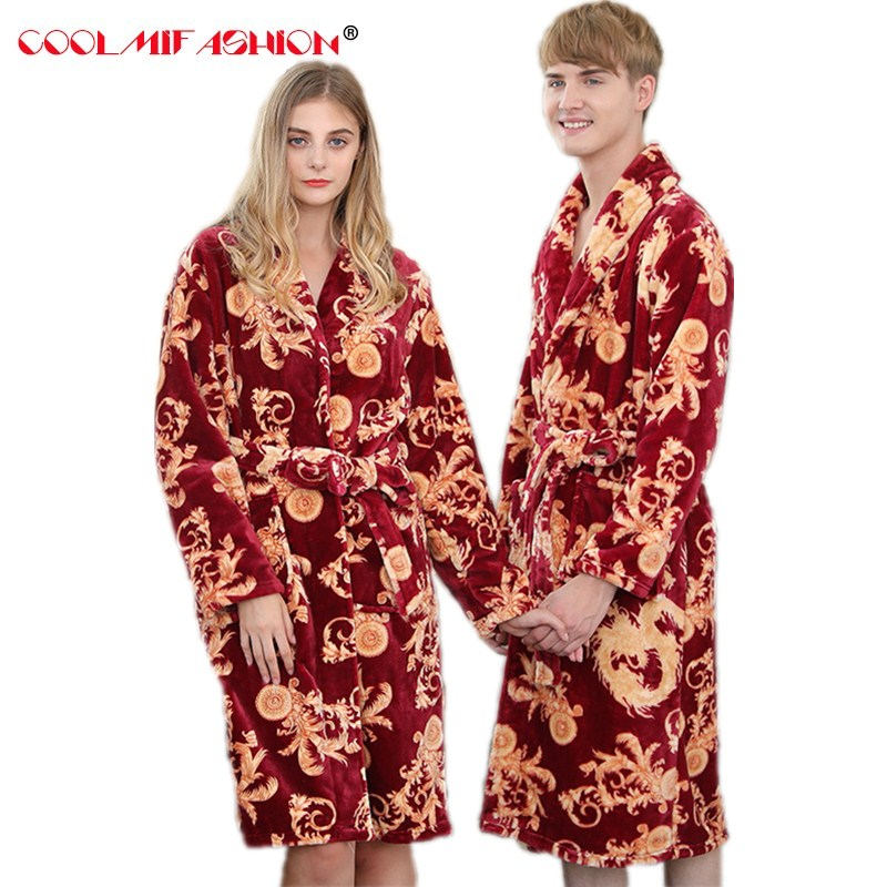Woman Men's BathRobe Lovers' Warm Coral Fleece Bath robe Winter thick Robes Dragon Printed Luxury Femme robe Velvet Sleep lounge