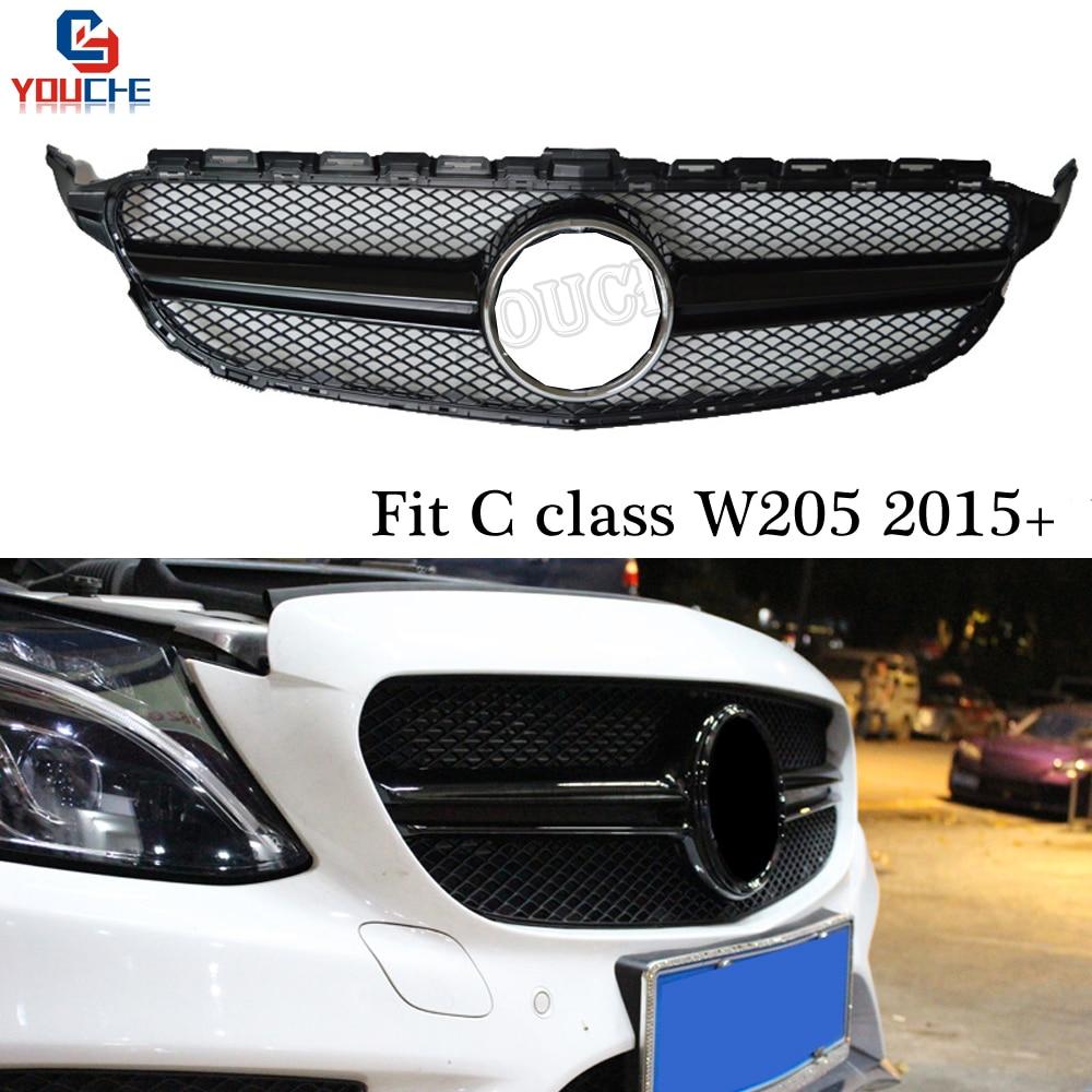 AMG Gloss Black Front Grille For Mercedes W205 Sport Edition C Class 2015 + C180 C200 C250 C300 C400 C450 Bumper Grille Mesh grille