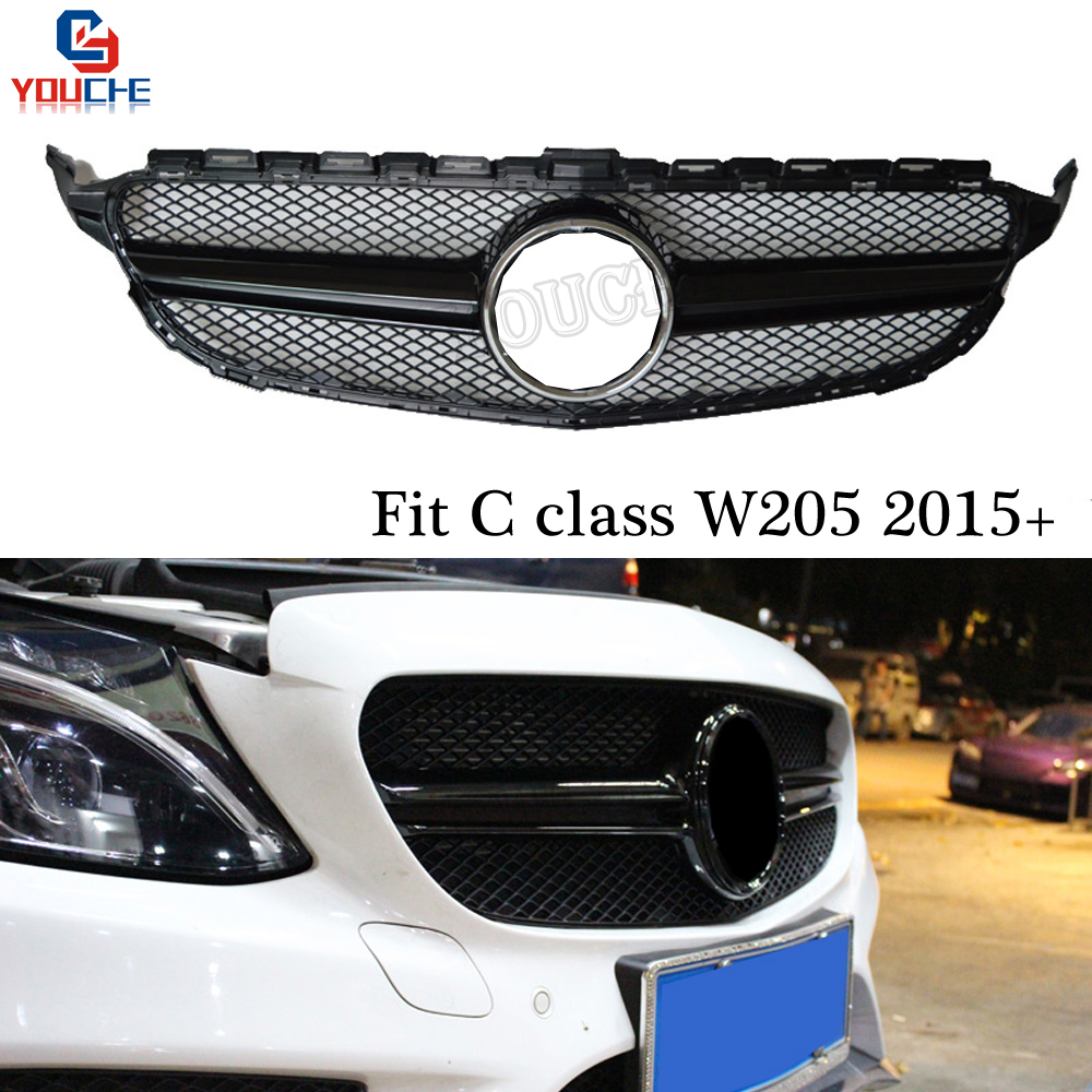 AMG Gloss Black Front Grille For Mercedes W205 Sport