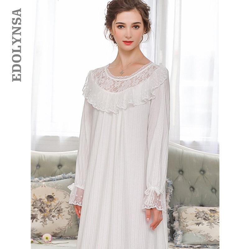 bca278e620 White Cotton Nightgown Women Autumn Sleepwear Lace O Neck Long Sleeve Slash  Ruffle Sleep Shirt Night