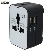 LEORY All In One Universal Electric Plug Power Socket Adapter International Travel Adapter Converter Dual USB