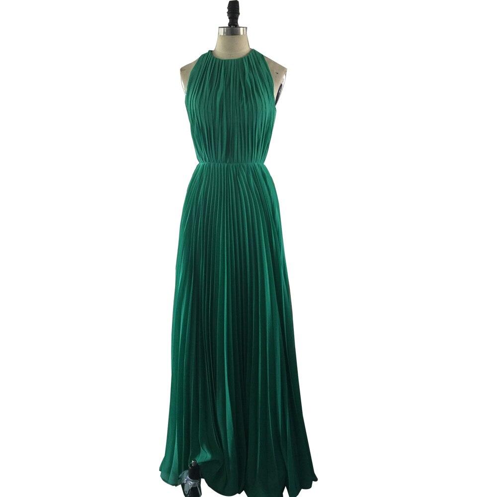 Robe de demoiselle d'honneur plissée verte à col haut, longues robes formelles