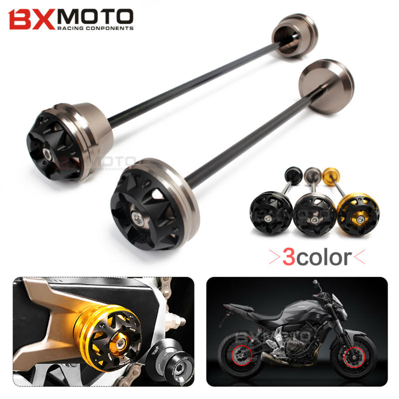 Motorcycle accessories Front and Rear Wheel Axle Fork Crash Sliders Falling Protector For Yamaha MT07 FZ07 2013 2014 2015 2016