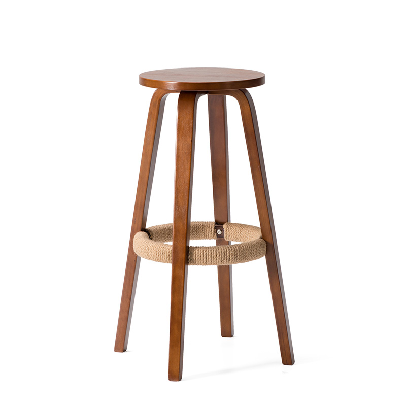 Contemporary 360 Swivel Bar Stool Chair Height 68.5cm Round Seat Wooden Bar Furniture Bar Stool Legs Solid Wood Brown/Natural цена и фото