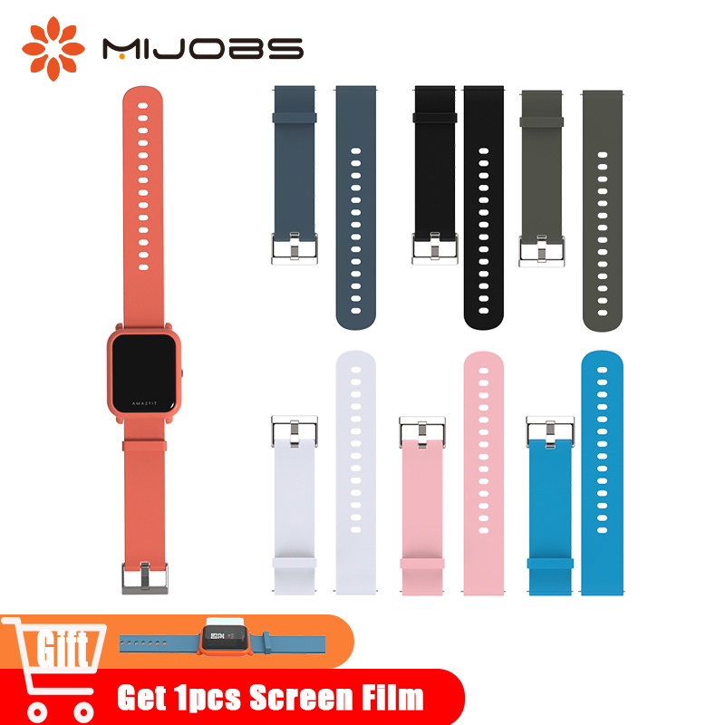 Mijobs 20mm Silicone Wrist Watch Band Strap for Xiaomi Huami Amazfit Bip BIT PACE Lite Bracelet Smart Watch Pulseira Accessories mijobs 20mm silicone wrist strap protective case cover plastic pc shell for huami xiaomi amazfit bip bit pace lite smart watch