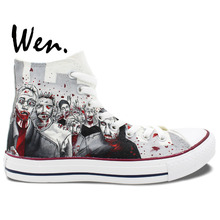 Wen Hand Painted Shoes Design Custom Walking Dead Grey Man Woman's High Top Canvas Sneakers Boys Girls Birthday Gifts