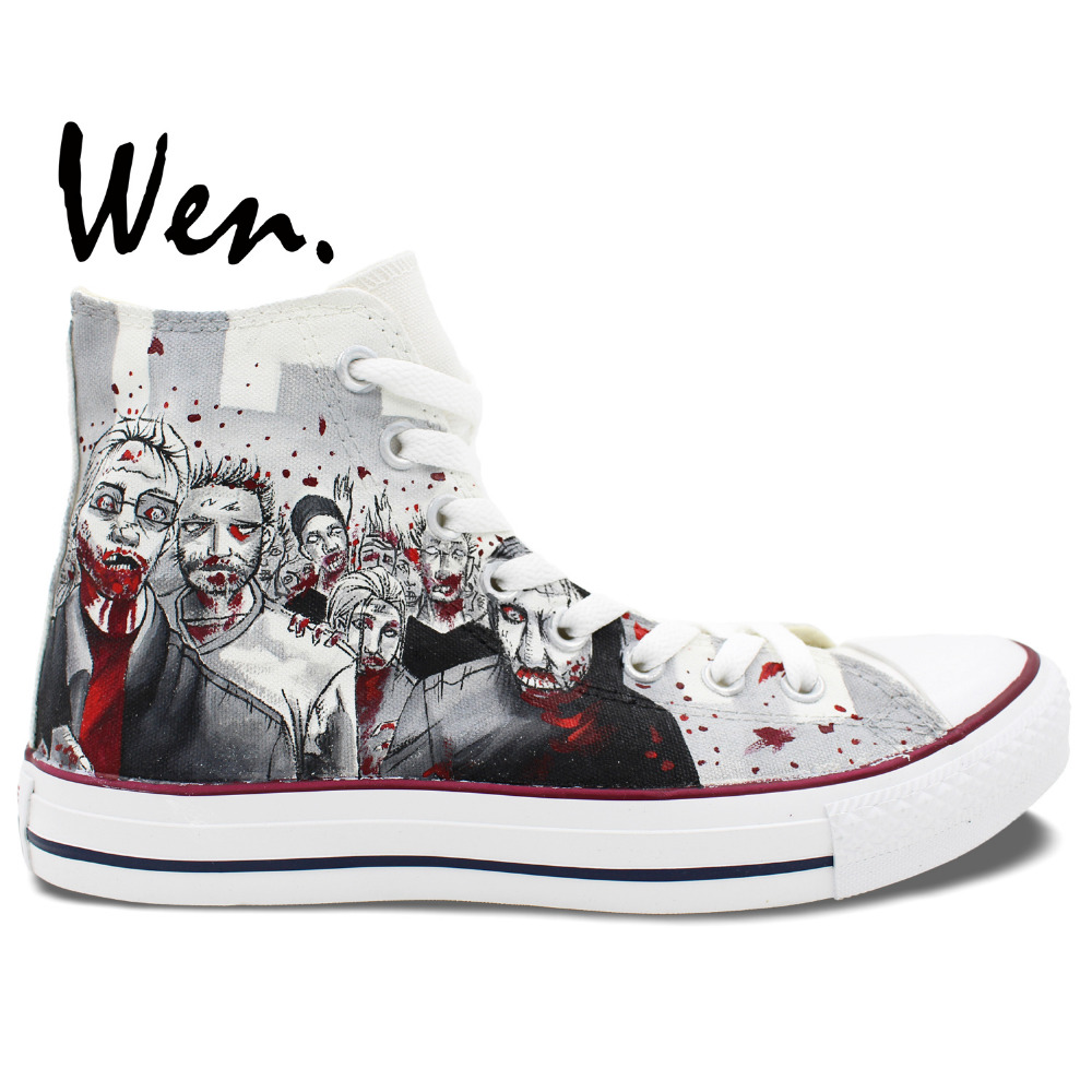 Walking dead converse shoes for sale - Wen Hand Painted Shoes Design Custom Walking Dead Grey Man Woman S High Top Canvas Sneakers Boys