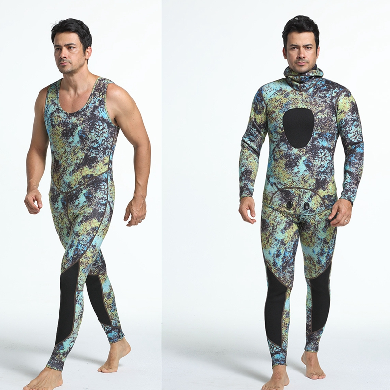 3MM Mens Swimming Scuba Diving Suit Camo Surfing Wetsuit Spearfishing Swimwear Hooded Split Type Long Sleeves fashion long sleeves surfing suit black grey size xl page 2