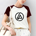 Linkin Park Impresión Raglaned Raglán Camiseta de Manga Corta camiseta de Las Mujeres Gótica inconformista Grunge Música Heavy Metal Camiseta Tee Shirts