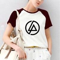 Linkin Park Print Raglan Short Sleeve Tshirt Raglaned T Shirt Women Gothic Grunge Hipster Heavy Metal