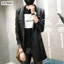 Fashion Pu Leather Mens Leather Blazers Coat Jacket Slim Fit Long Leather Trench Coat Jaqueta de
