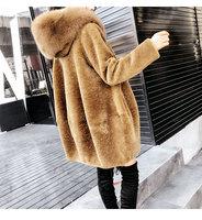 Luxury new arrival 2018 woman winter wool coat with a large fox fur hood hat female streetwear clothing camel plus size xxl 2xl