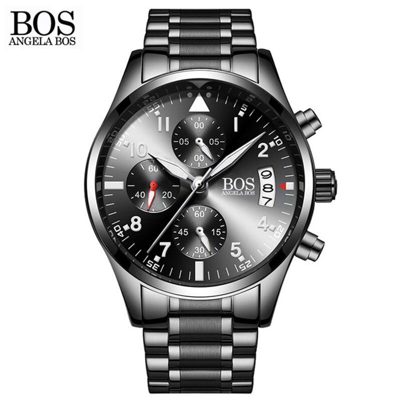 Zegarki Meskie 2018 Top Brand Business Watch Men Luxury Calendar Luminous Quartz Watches Fashion Stainless Steel Wristwatches