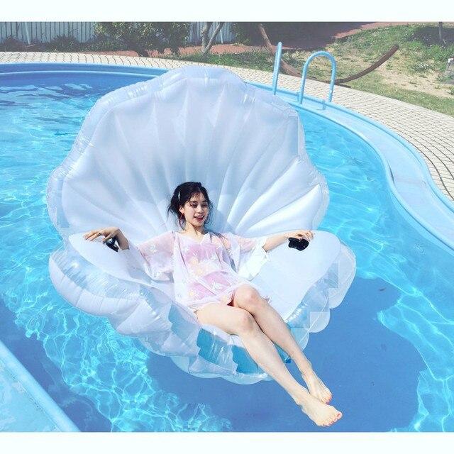 transparente aufblasbare sea shell muschel pool spielzeug f r erwachsene und kinder large130. Black Bedroom Furniture Sets. Home Design Ideas