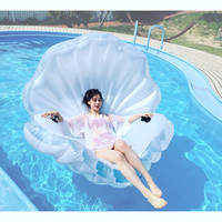 transparent Inflatable Sea Shell clam shell swimming pool toys for adults and children Large130*170*1 with pumper