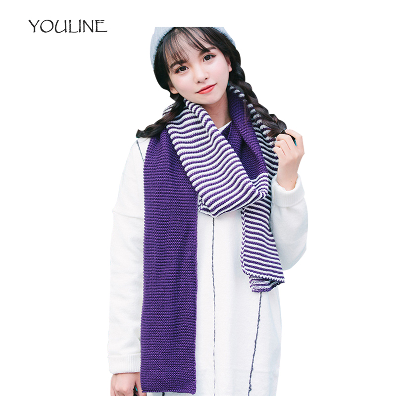 YOULINE 2018 Ladies scarf winter warm knitt striped pashmina autumn cashmere scarves Mixing Color scarf bufanda mujer S17565