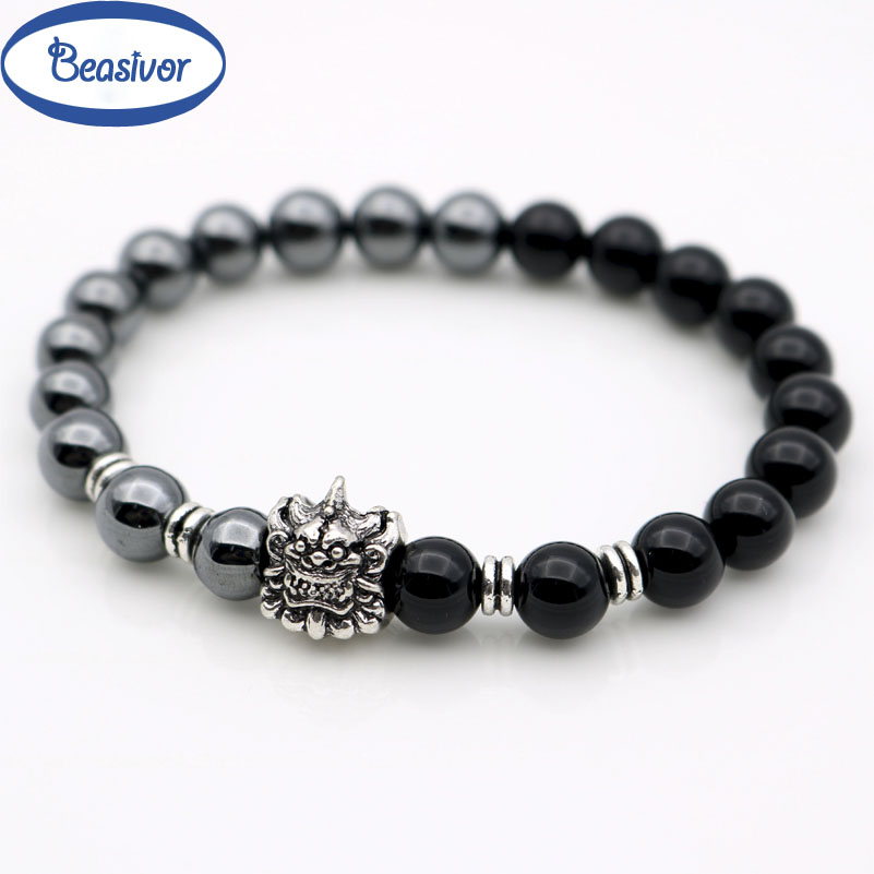 Retro Antique Silver Pi Xiu Head Bring Wealth Symbol Animal Charm Bracelets Hematite Beads Onyx Stones 8 mm