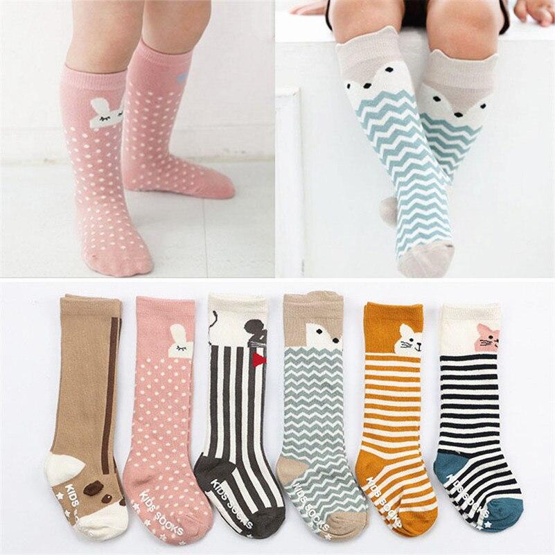 Cotton Baby Socks Newborn Girls Boy Unisex Animal Anti-slip Knee High Sock With Rubber Sole Cartoon Infant Toddler Socks