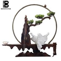 Chinese Style Ceramic Buddha Decoration Handmade Artificial Tree Wooden Base Stick Incense Lotus Holder Backflow Incense Burner