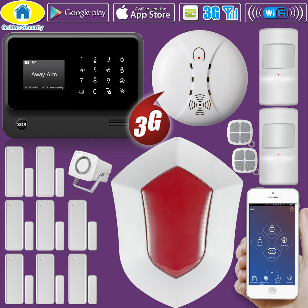 Golden Security DIY Kit G90B Plus+ 3G GSM WIFI Russian Spanish English Dutch Freench APP Control Home Security Alarm System wifi gsm alarm systems security home alarma casas g90b android ios app remote control english spanish russian dutch word menu