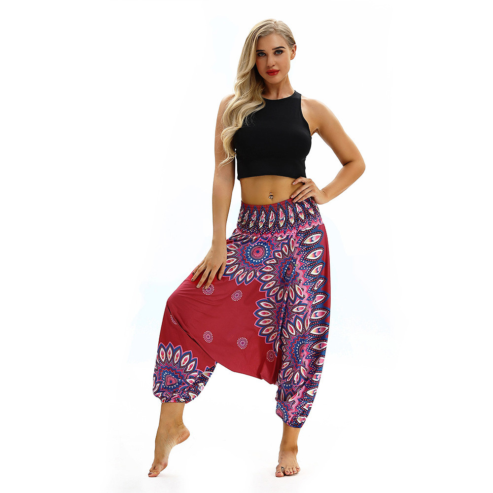 Women Men Pants Casual Woman High Waist Wide Leg Harem Trousers Baggy Boho Loose Aladdin Festival Hippy Jumpsuit Print Lady pant 105