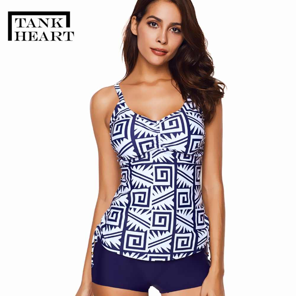 c4adb46293c8d Tank Heart Print Plavky Plus Size Swimwear Women Tankini Set Two Piece  Swimsuit Shorts badpak Bathing