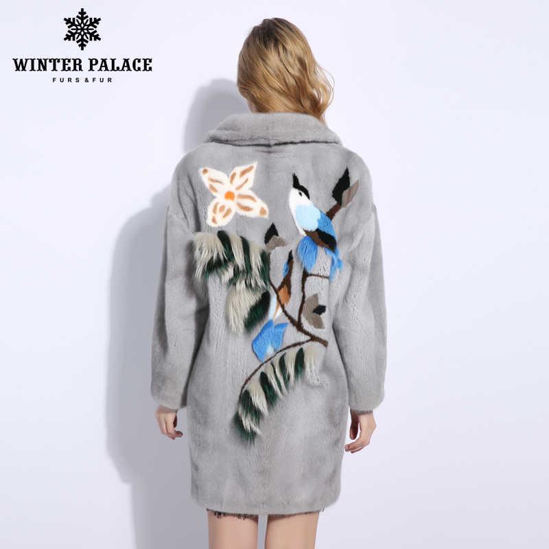Серый птичка норки пальто с мехом импортные бархат свободные натуральный мех норки пальто с мехом итальянский модный дизайн норковые шубы женщины