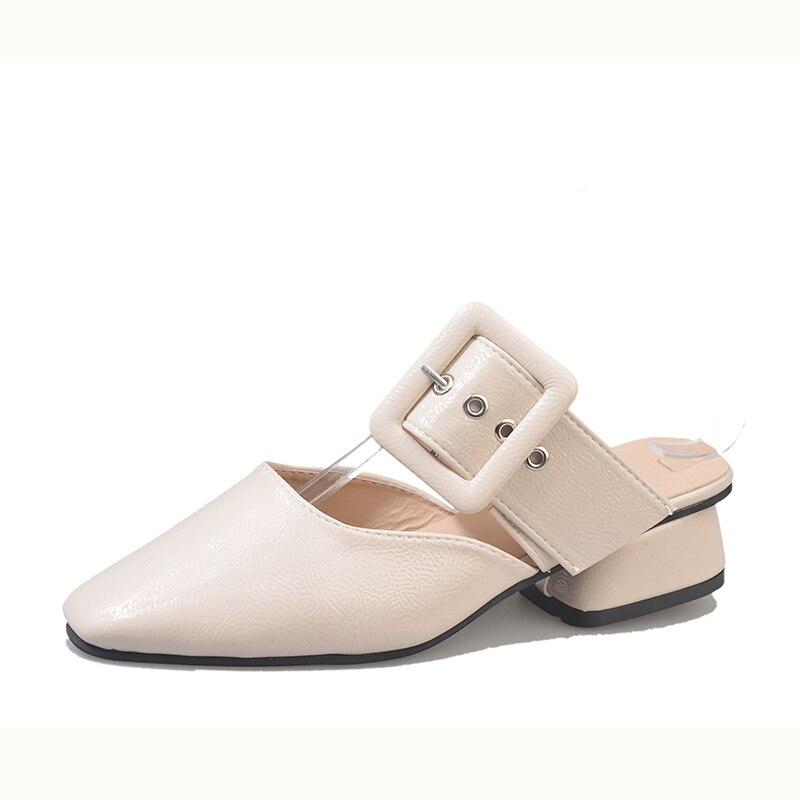 Модные женские туфли слайды квадратный носок летние туфли квадратный каблук коричневый бежевый тапочки женская обувь Шлёпанцы открытый ...