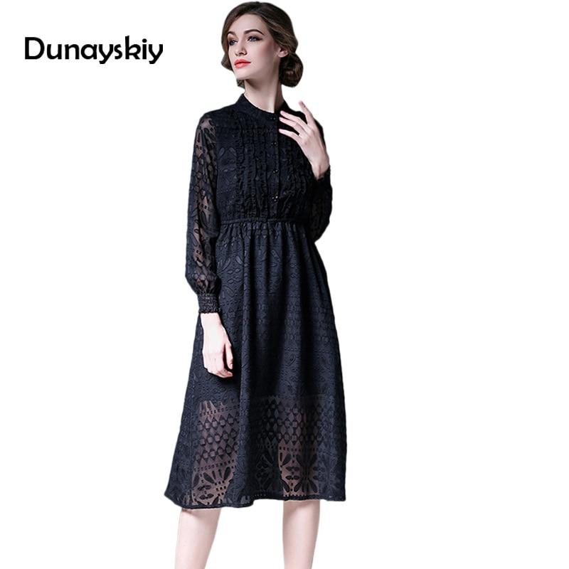 New Elegant Long Dress Women Hollow Out Patchwork Sexy Womens Autumn Dresses Office Lady Sleeve Mid-Calf High Defined Waist XL