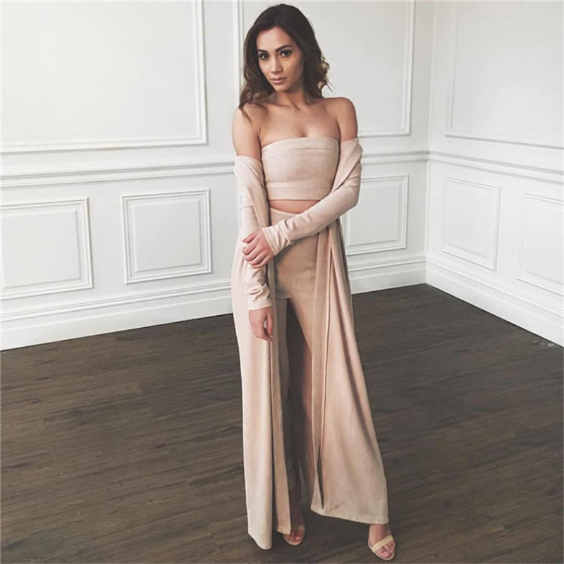New 2016 Suede Womens Two Piece Bodycon Jumpsuits 2016 Autumn Long Pants Club Wear Bodysuit Women Jumpsuit sexy club jumpsuits
