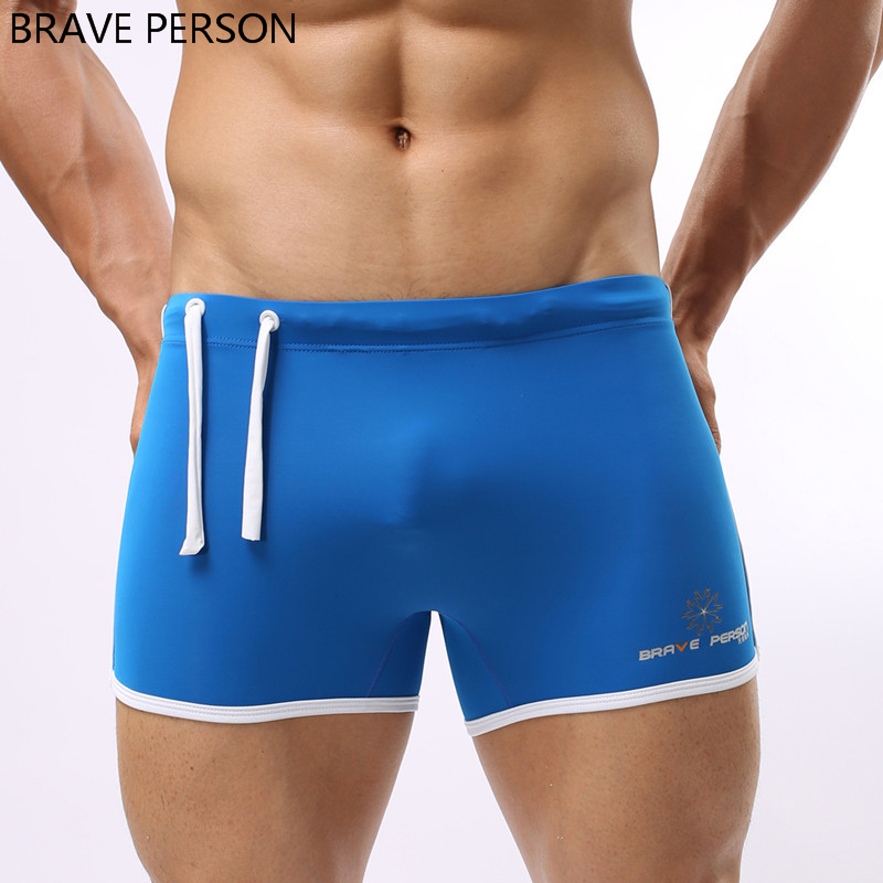 BRAVE PERSON Brand Swimwear Beach Sexy Men Swimming Trunks Swimsuit Bathing Boxer Plus Size Solid Pouch Bulge Swim Shorts Sunga