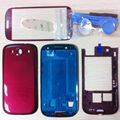 TOP quality Replacement Full Housing Case + Front Screen Glass For Samsung Galaxy S3 ATT I747 T999 Red color freeshipping