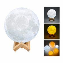 3D Print Moon Lamp LED Night Light Moon light Touch Sensor Wood Rack USB Rechargeable Home Deor Kids Gift Desk Table Lamps(China)