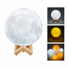 3D  Print Moon Lamp LED Night Light Moon light Touch Sensor Wood Rack USB Rechargeable Home Deor Kids Gift Desk Table Lamps