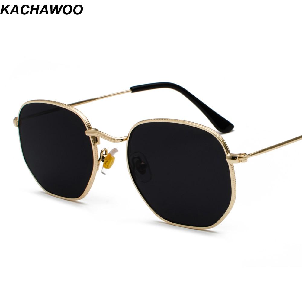 842b4dad74d2d Kachawoo óculos de sol dos homens do ouro do vintage quadrado de metal  moldura de prata