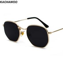 3e4296a199 Kachawoo oro vintage gafas de sol hombres plaza de marco de metal marrón  plata negro gafas de sol mujer unisex estilo de verano