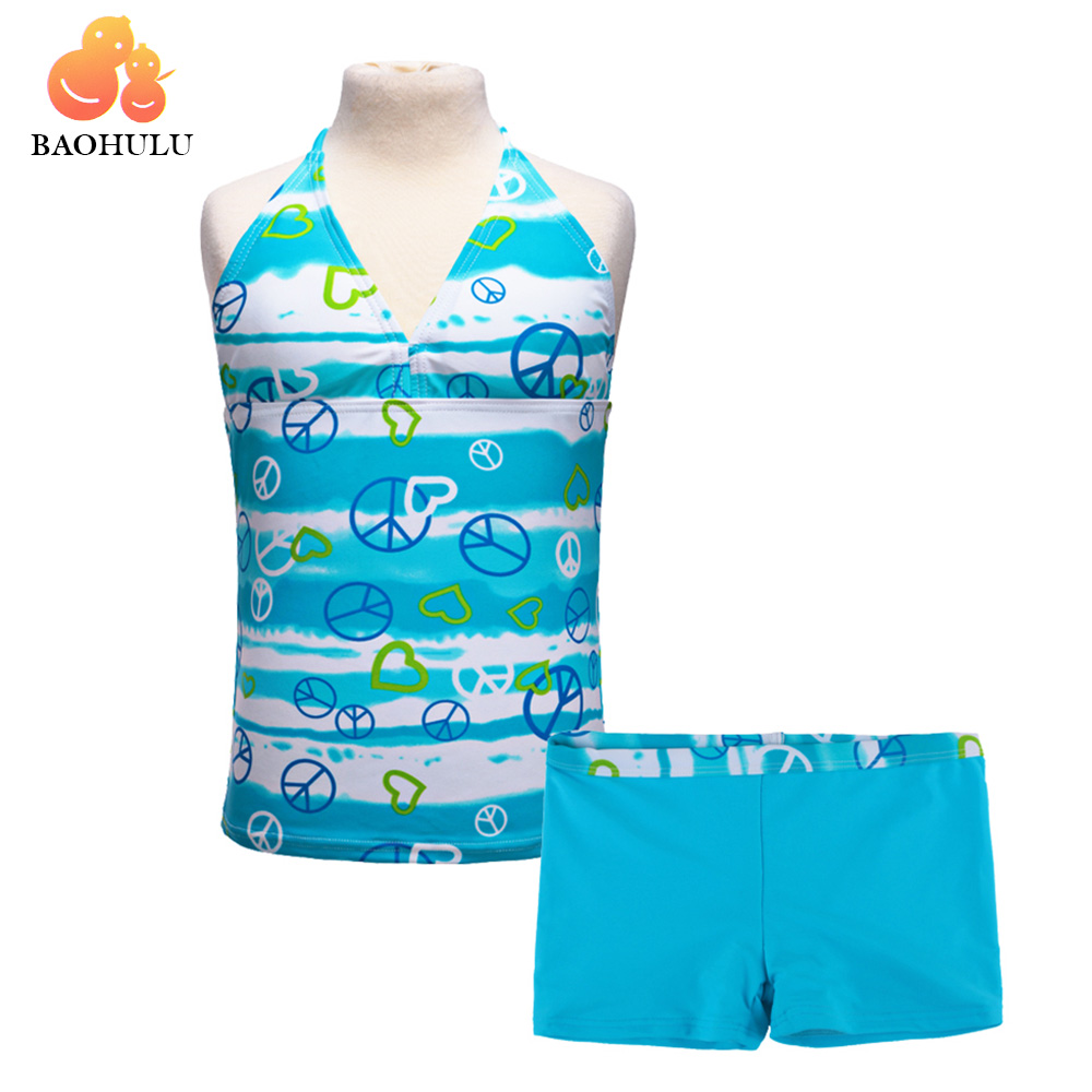 2018 BAOHULU New Top+Shorts Pants Sleeveless Blue White Strips Green Child Kid Summer Cool Pool Beach Surf Heart Bath Vacation