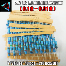 Купить с кэшбэком Total 210pcs 1% 2W 21Values (0.1Ohm ~0.91Ohm) Metal Film Resistors Assorted Kit 10pcs Each value