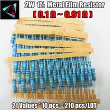 Total 210pcs 1% 2W 21Values (0.1Ohm ~0.91Ohm) Metal Film Resistors Assorted Kit 10pcs Each value