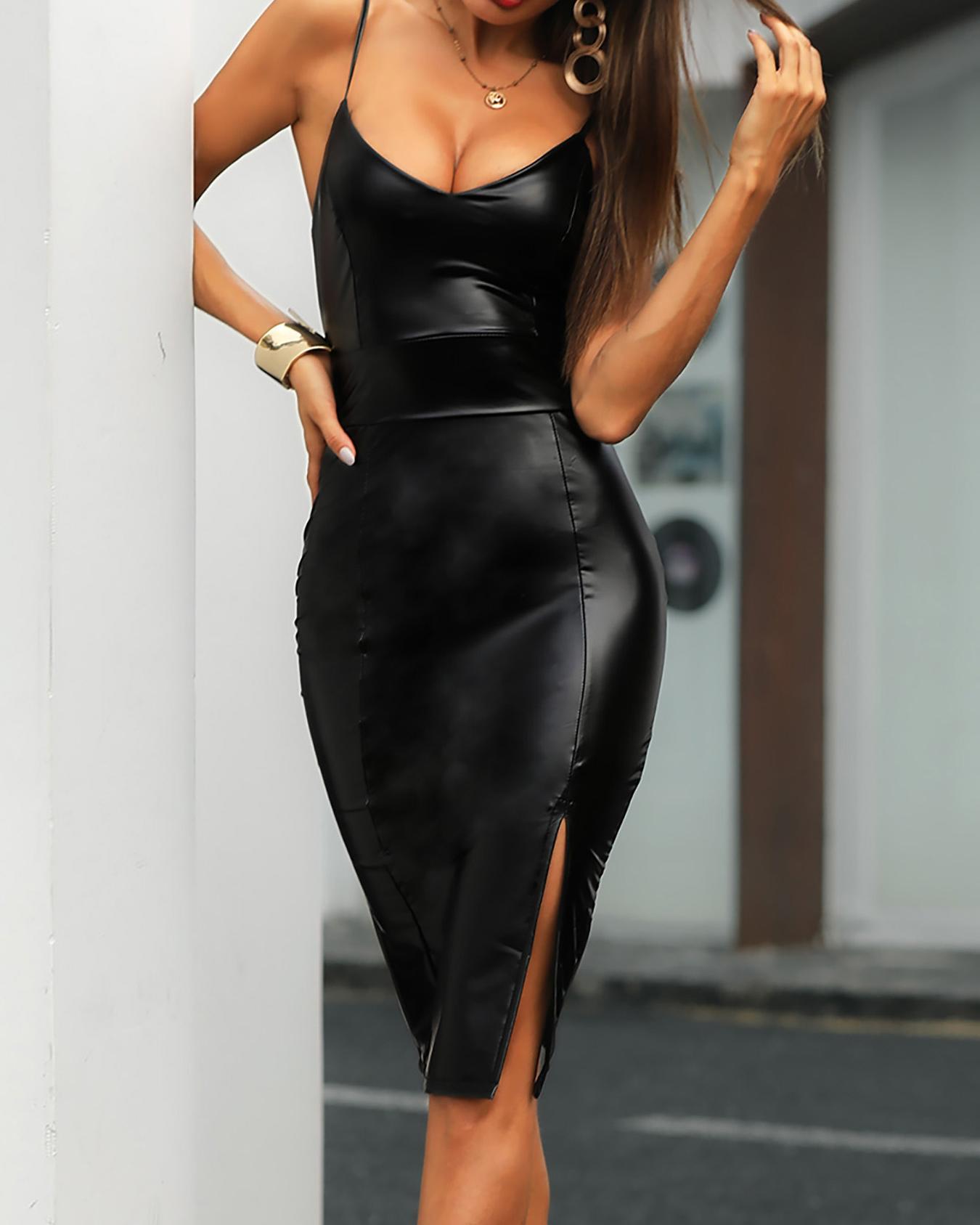 Women Sexy Deep V-neck PU High Slit Bodycon Slip Dress