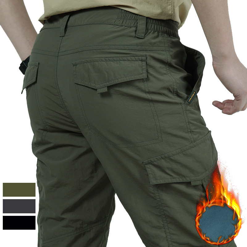 Winter Brushed Pants Seasons Men's Causal Cargo Pants Thick Nylon Quick-drying Long Trousers Baggy Loose Trousers Men Bottoms