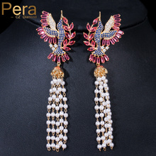 87df2cc85ddf Pera de lujo de marca famosa de oro amarillo Color rojo de oído de piedra  de la joyería ronda perla simulada mucho Tessal gota p.